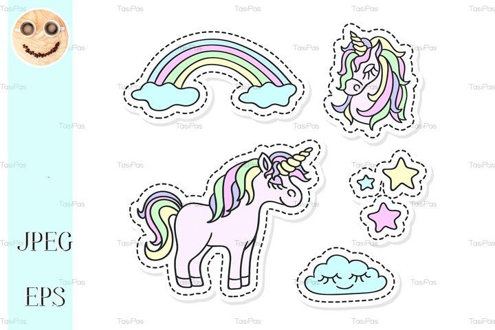 Unicorn and rainbow vector sticker set