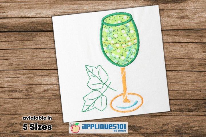 Wine Glass Embroidery Applique Design - Glasses
