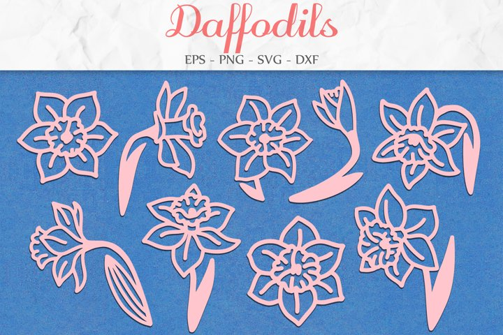 Daffodils SVG, Narcissus Flower, Flowers SVG, Mothers Day