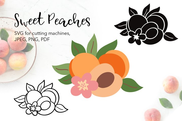 Peaches Fruits SVG for Cricut, PNG, PDF, JPG files