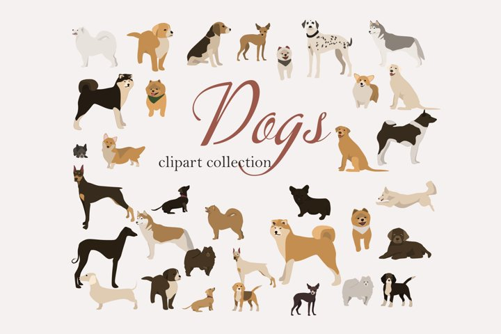 Dog clip art set-hand drawn dog breeds-digital PNG vector