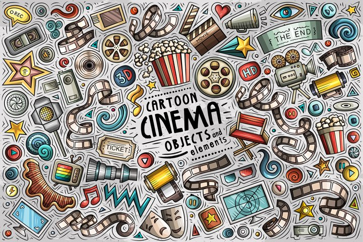 Cinema Cartoon Objects Set