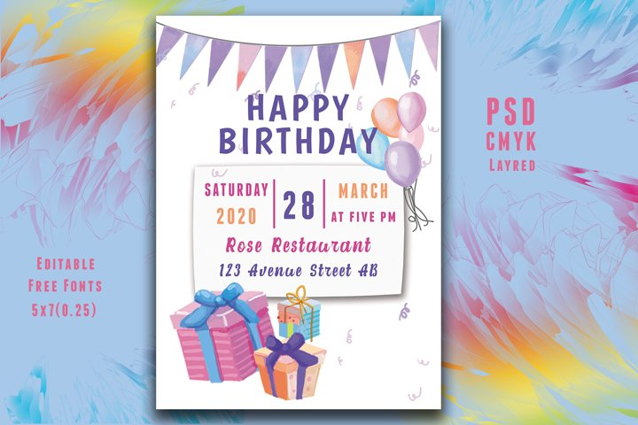 Water Color Birthday Invitation Card