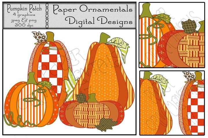 Autumn Clip Art, Cute Fall Pumpkin Patch Pumpkins