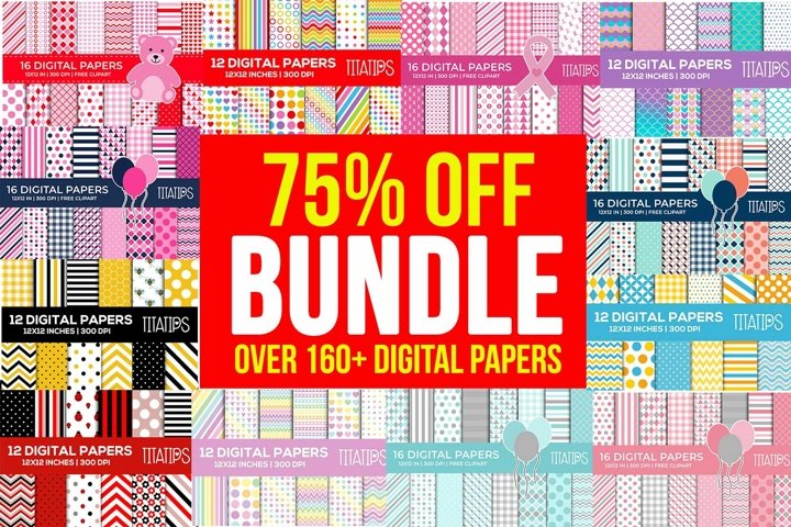 Over 160 Digital Papers BUNDLE