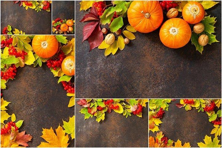 Autumn composition with autumn leaves bundle 6 stock photos.