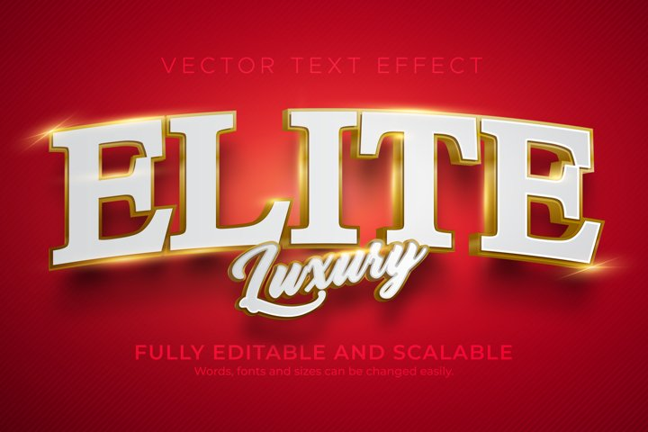 Elite editable text effecy, 3d golden luxury text style