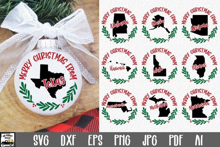 Christmas Ornament SVG - 50 States Christmas SVG Files