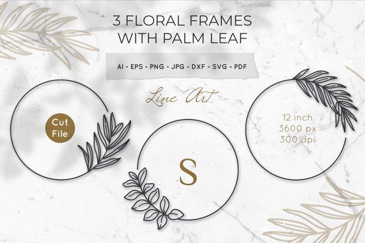 Floral Monogram Frame svg Bundle, Leaf Monogram Frame svg,