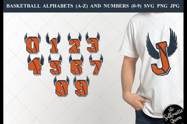Basketball with wings Alphabet Number SVG Cut File