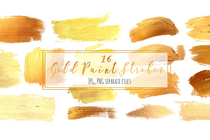 Set 16 Gold Paint Strokes