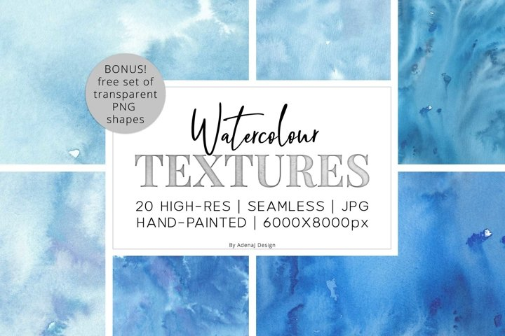 20 Huge Seamless Blue Watercolor Textures