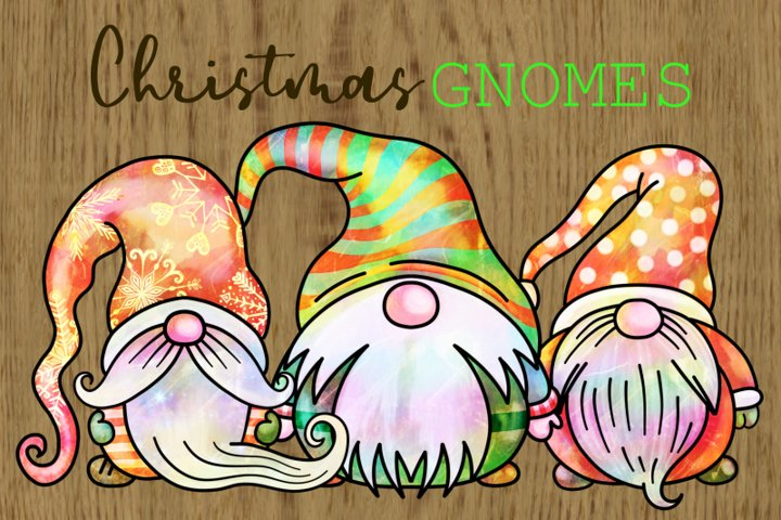 Cute Cartoon Watercolour Christmas Gnomes