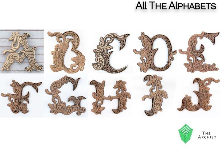 Multilayered svg, alphabets Letters A-Z artist floral lett