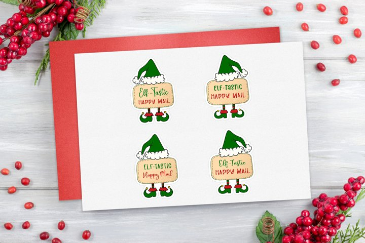 Elf-tastic happy mail Stickers | Christmas gift tags | SVG