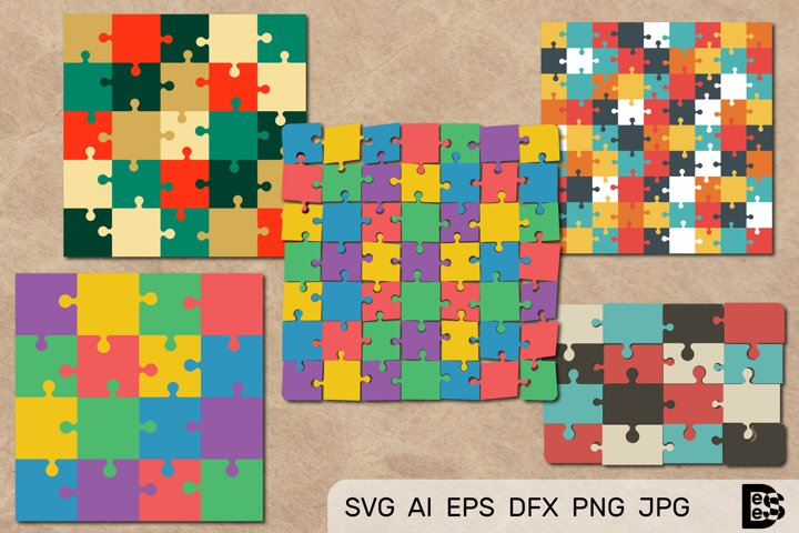 Puzzle Jigsaw clipart Pack. Vector illustrations. Svg File