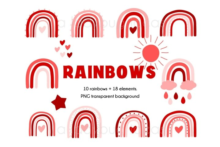 Valentines Rainbows clipart. Red and pink rainbows clip art.