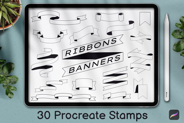 30 Procreate Banner Stamp, Ribbon stamps, Planner Stamps