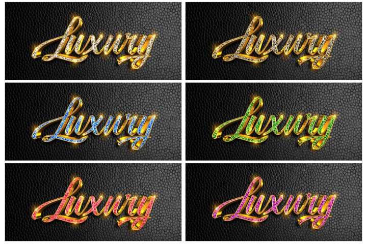6 color 3d diamond Luxury text effect for photoshop