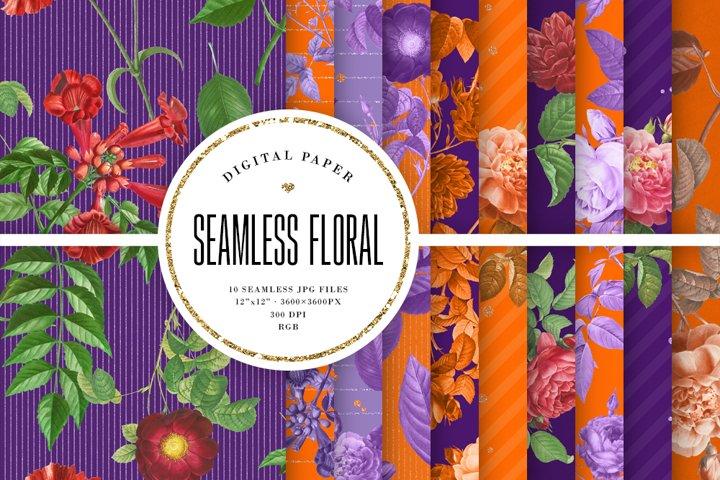 Vintage Floral Seamless Patterns - Purple & Orange