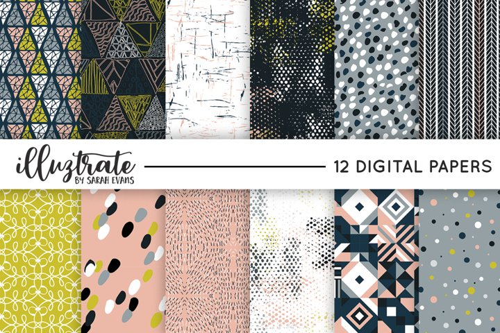Retro Vector Pattern Set | Seamless Digital Papers | Texture