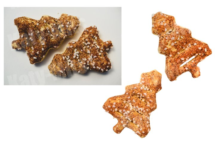 Set of 3 photos of Christmas tree shaped cookies