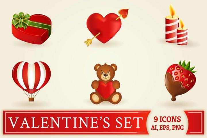 Valentines icons set