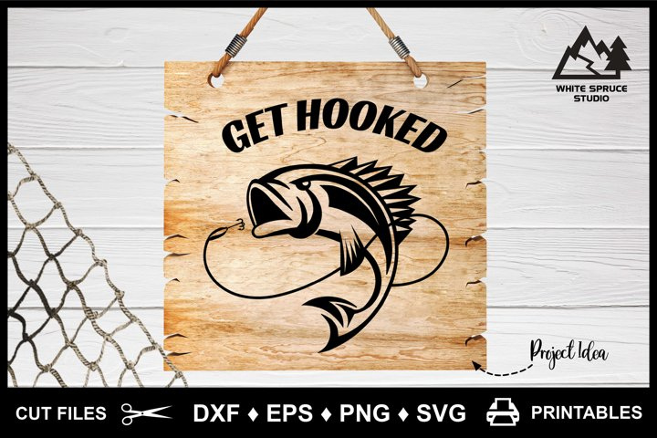 Fishing Get Hooked Fish DXF EPS PNG SVG