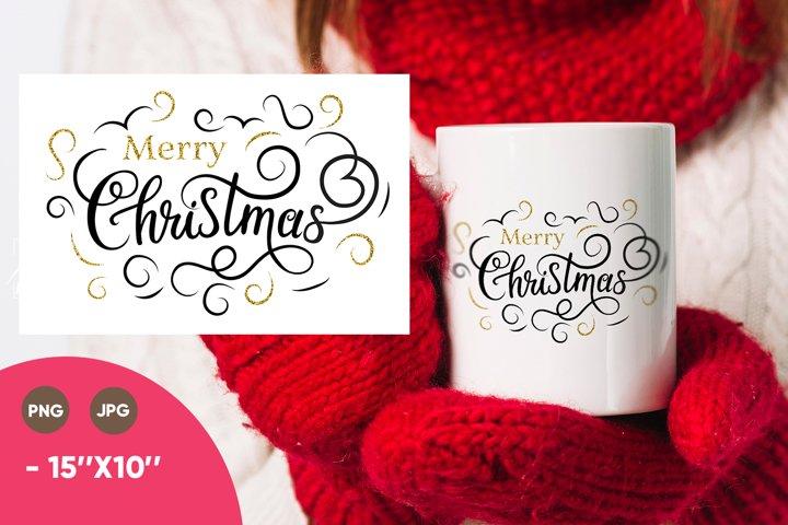 Merry Christmas png, Christmas mug design, Christmas gold