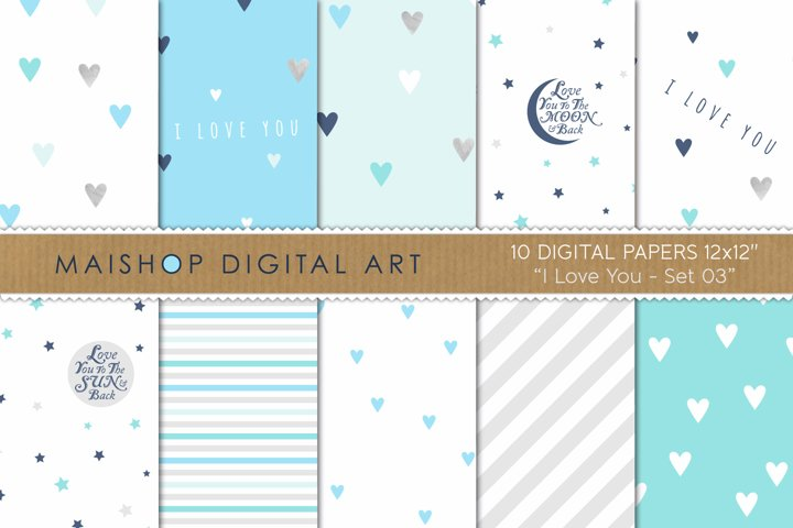 Printable Digital Paper Pack - I love You Set 03