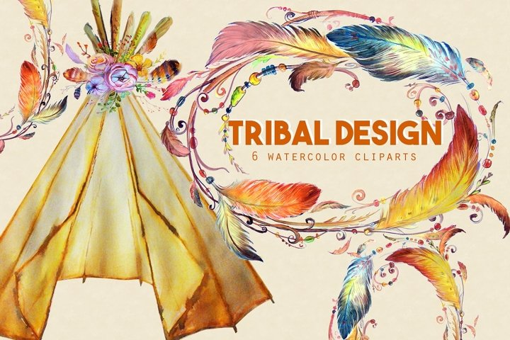 Watercolor Tribal Designs Clipart Images  by Whimseez