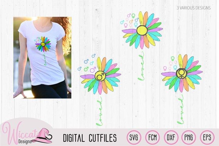Rainbow Sunflower loved, Women sign, Men sign, glbtq svg