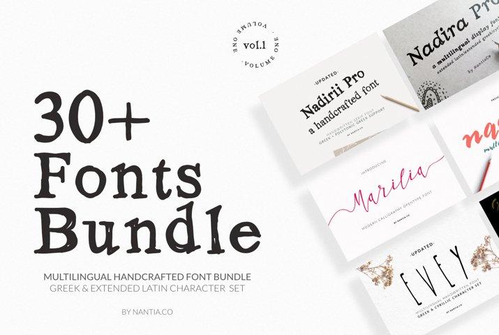30 Greek Fonts Bundle By Nantia.co