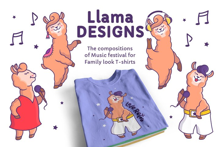 Music Llamas. T-shirt designs