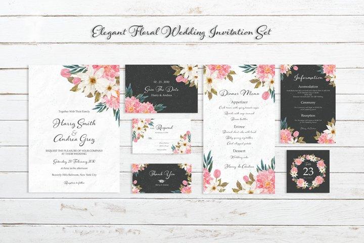 Elegant Floral Wedding Invitation Set