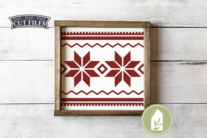 Nordic Snowflake Pattern SVG, Farmhouse Christmas Wood Sign
