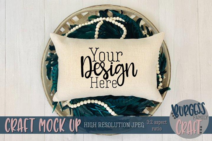 Peacock pillow Craft mock up