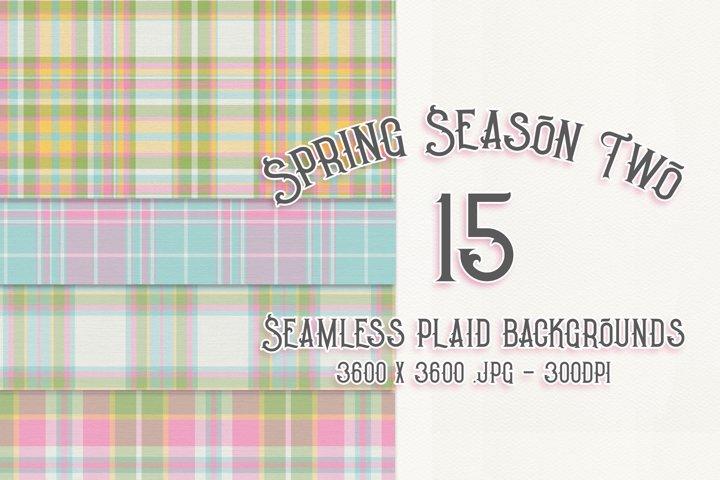Spring Season Two - Seamless Plaid Digital Papers