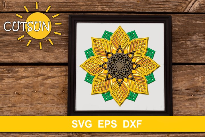 3D Layered Sunflower Mandala cut file for crafters 11 layers