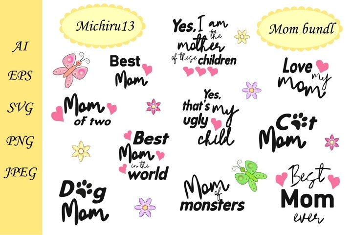 A set of handwritten phrases about love for mom, 10 pieces