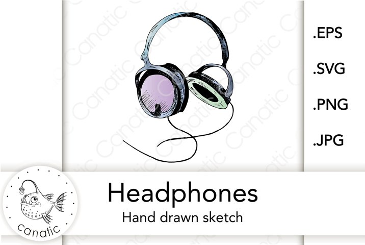 Headphones. Colored hand-drawn sketch. EPS/SVG/JPG/PNG