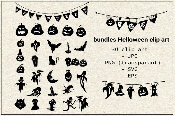 bundles Halloween clip art elements