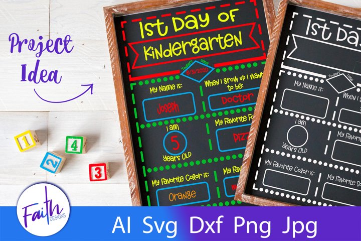 First Day of School Chalkboard Svg Cut File
