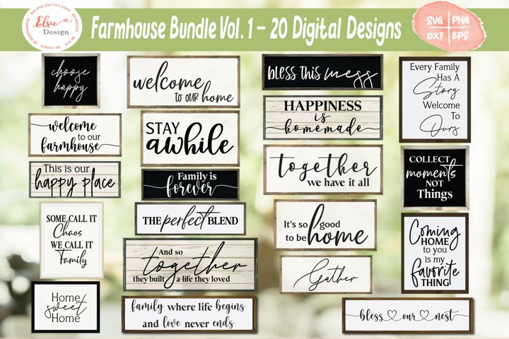 Farmhouse Home Signs Bundle SVG Cut Files