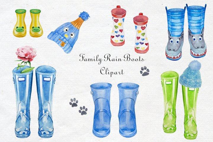 Watercolor Rain Boots Clipart