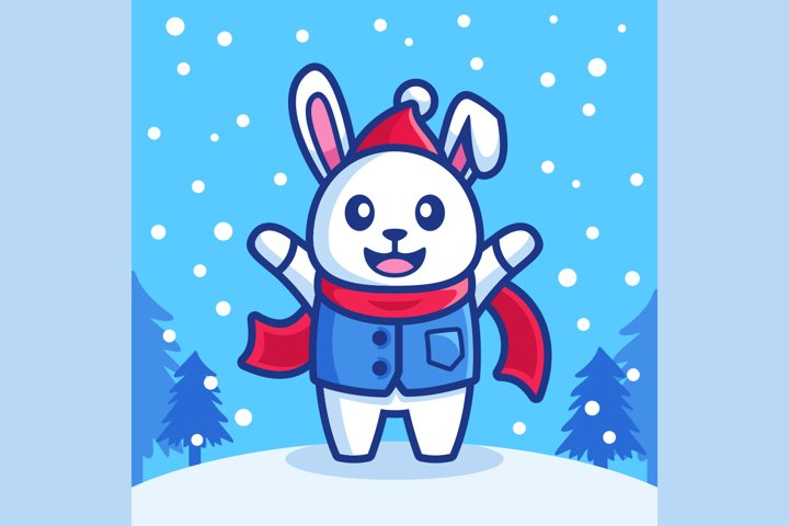 happy rabbit in snowfall winter season