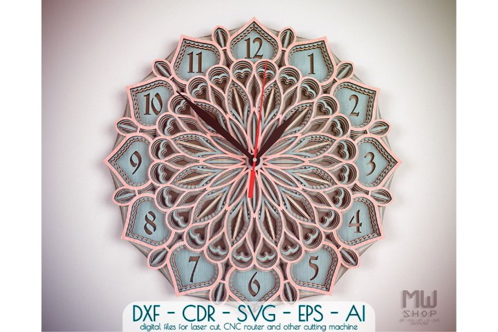 C30 - Mandala Clock DXF for Laser cut, Sacred Clock SVG