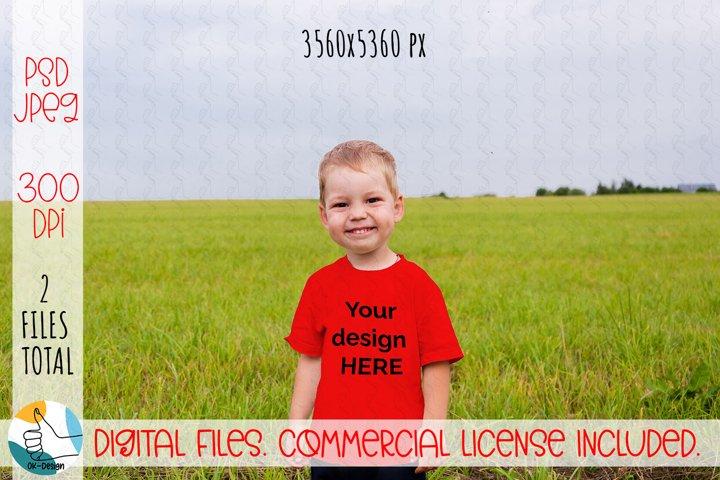 Kids t-shirt mockup. Boy t-shirt mockup PSD, JPEG file.