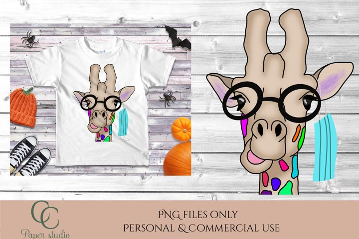 Sublimation design - Giraffe wearing face mask from ear
