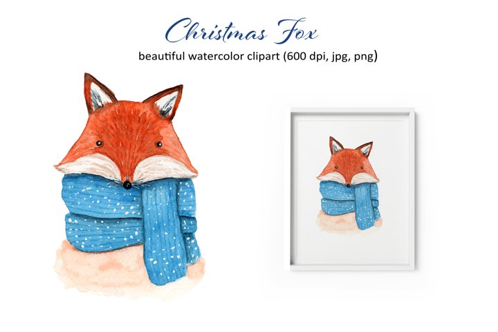 Watercolor Christmas Fox Clipart